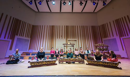 Gamelan performance in the Cosmo Rodewald Concert Hall