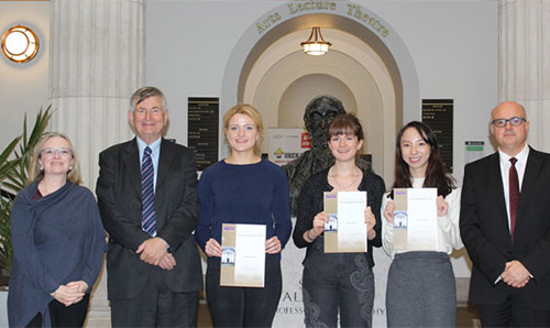 Sir Martin Harris (second from left) presenting the Martin Harris Prize for Cultural Engagement and Social Responsibility to students in 2016.