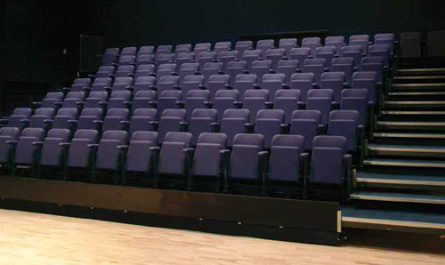 Raked blue seats in the John Thaw Studio Theatre