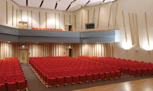 350 seats in the Cosmo Rodewald Concert Hall