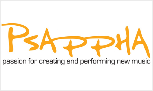 Psappha logo (orange text on white, with the caption 'passion for creating and performing new music')