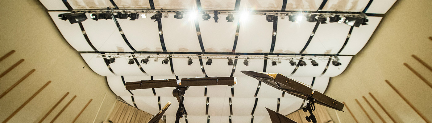 Lights and rigging in the Cosmo Rodewald Concert Hall
