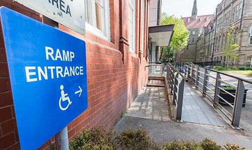Access ramp sign on Coupland Street