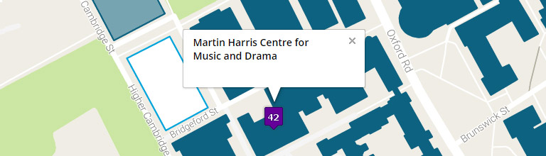Campus map showing the Martin Harris Centre